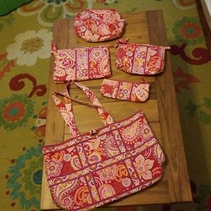 Vera Bradley Set/5 Tote Bag w/4 Accessory Bags